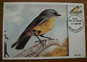 Retro Vintage Postcard: Australian Birds - Eastern Yellow Robin, FDI, 1979