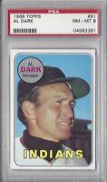 1969 Topps baseball card #91 Alvin Dark, Cleveland Indians PSA 8 NMMT