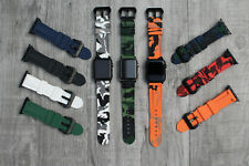 Camouflage Waterproof Silicone Rubber Watch Strap For Apple Watch 3 4 5 42/44mm