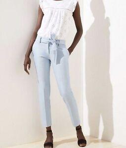 NWOT Ann Taylor LOFT SLIM PANTS IN MARISA FIT POWDER BLUE MELANGE Sz 0 No Belt