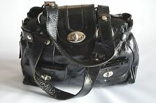 RUSSELL & BROMLEY VIA REPUBBLICA BLACK PATENT LEATHER MEDIUM SIZE SHOULDER BAG