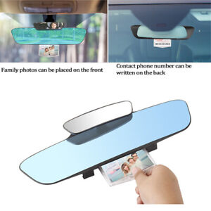 Car Double Rearview Mirror Panoramic Assisting Mirror w/ Parking Number Plate
