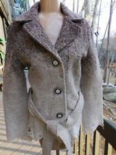 TRUE GRIT DRY GOODS so UNIQUE most AMAZING sweater JACKET coat BROWN beige  M