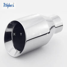 "2 1/4"" In 4"" Out 7"" Long Double Layer 304 Stainless Steel Angle Cut Exhaust Tip"