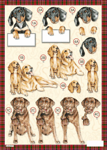 Craft UK A4 Die Cut Decoupage Line 617 - DOGS Dachshund, Retriever, Labrador