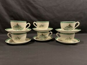 Spode Christmas Tree Green Trim Cup & Saucer Set of 6 Vintage Holiday