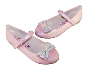 Girls Kids Pink Shimmer Rainbow Bow Glitter Sparkly Ballerina Flat Party Shoes