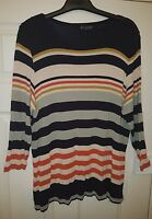 ladies M&S nautical stripe tunic top size 18 navy grey AUTOGRAPH