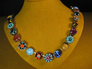 MARIANA NECKLACE SWAROVSKI BLUE GREEN RED PINK CRYSTALS TURQUOISE MOSAIC Multi