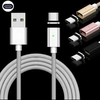 1M 2.4A Quick Magnetic LED Micro USB Type C IOS Fast Charger Cable Charging Cord
