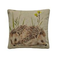 Made UK Artistic Country Hedgehogs Hedgehog Cotton Linen Look Cushion Cover