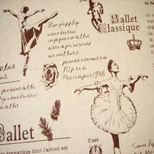 Vintage Retro Style BALLET DANCER GIRLS Linen Cotton Fabric 50s Natural 50x46cm