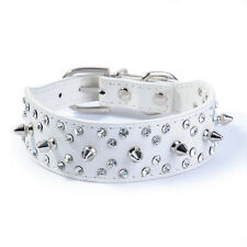 White Leather Bling Rhinestone Dog Collars Crystal Spiked Studded Pet Dog Collar