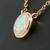 Large 2Ct Round White Opal Pendant Necklace Women Engagement 14K Rose Gold