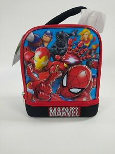 Black Marvel Avengers 3D Insulated 2 Compartment Lunch box Superhero Lunch Bag