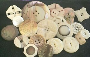 20 Lovely Antique Carved, Dyed Mother Of Pearl Buttons, Sm-Xlg