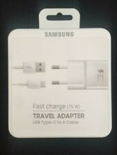 GENUINE SAMSUNG EU EUROPE 2 PIN FAST MAINS CHARGER & TYPE C USB DATA CABLE