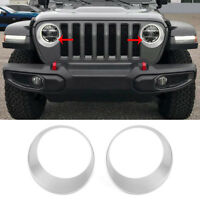 fit 2018-19 Jeep Wrangler JL Silver Headlight Cover Front lamp Circle Trim Decor