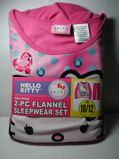 New Girls HELLO KITTY Pink 2 piece Flannel Pajamas Sleepwear Set 10/12