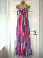 PER UNA Ladies Size 12 R Pink Blue Striped Ruffle Neck Party Occasion Maxi Dress