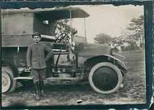 Première Guerre Mondiale 1914/18, Camion et son Chauffeur  Vintage silver print