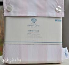 Rachel Ashwell Simply Shabby Chic Rose Pink White Cabana Stripe QUEEN Sheet Set