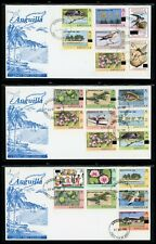 Anguilla Scott #402-423 FIRST DAY COVERS (3) OVPT SEPARATION ON Flora Fauna $$