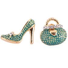 1pair Women Rhinestone Purse Handbag High-heel Shoes Stud Earrings Jewelry R Red