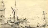 W.J. Lawrence, Boats in Harbour, Thames, Gravesend – 1938 graphite drawing