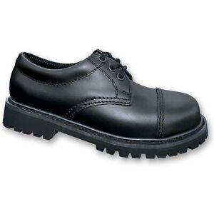 Brandit Phantom Boots 3-Loch 9001 Rangers Leder Schuhe mit Stahlkappe Schwarz