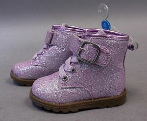 Carter's Girl's Glitter Hook And Loop Combat Boots TM8 Purple Size 4