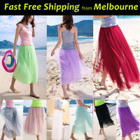 Ladies 80cm Long tutu Gown Skirt 6-Layers Premium Soft Tulle Adults Girls Beach