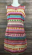 Talbots NWT Womens Textured Printed Sheath Dress 14 Petites Pink Blue Career E69
