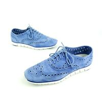 Cole Haan Zerogrand Suede Wingtip Grand.OS Perforated Leather Women's 8.5 B