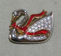 Signed Swan Swarovski Christmas Red Enamel Bow Swan Bird Silver Pin Brooch 9j 41