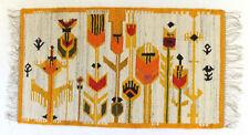 More details for modernist floral vintage polish folk art textile wall hanging / rug hand loomed