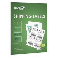 100 Koala Shipping Labels 4 UP Per Sheet 4X5 Self Adhesive Blank Inkjet Laser