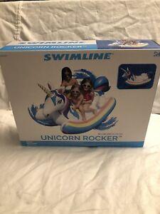 Swimline Unicorn Rocker Rainbow Lounge/Ride On Pool Inflatable Raft Water Floats