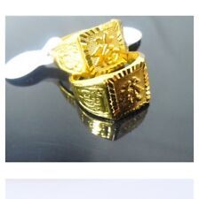 18K COINS GOLD-PLATED SQUARE MEN RING. ADJUSTABLE SIZE