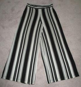 Roman Black/White Stripe Elastic Waist Wide Leg Trousers 12
