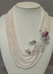 """22"""" 2 Rows Cultured White Pearl Necklace Cz Pave pendant"""
