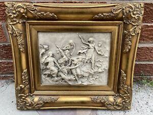 Marble Wall Plaque Gilt Wood Frame 'Martin Moreau 1868' Bacchic Battle Scene