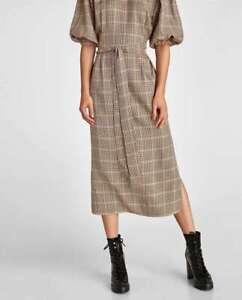 ZARA WOMEN MIDI HIGH COLLAR BUTTON CHECKED DRESS BELT Brown XS