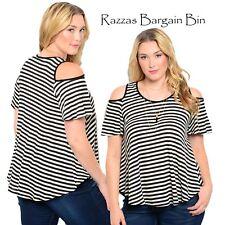 New Ladies Black & White Striped Knit Top Plus Size 16/1XL (9818)LP