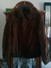 Men's CLAIBORNE BOMBER Jacket Sueded Finish Brown Quilted Lining X Large .
