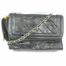 Chanel Shoulder Bag Quilted chain shoulder Vintage Black Leather 1403718