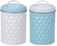 Stainless Steel Blue & White Tea Coffee Sugar Canisters Storage