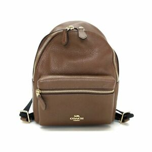 Auth COACH Charly Pebbled Leather Mini Backpack F28995 Brown Leather Backpack
