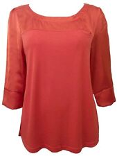 Size 12 Red 3/4 Sleeve Party Club Tunic Top Blouse NWOT