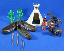 Playmobil Indians Native Americans Animals TeePee Canoes & Cactus
